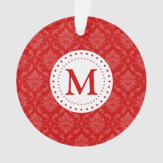 Monogram Red Damask Ornament
