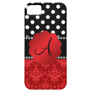 Monogram red damask white polka dots iPhone 5 cases