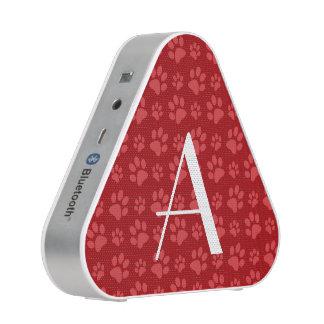 Monogram red dog paw prints speaker