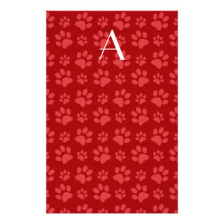 Monogram red dog paw prints stationery paper