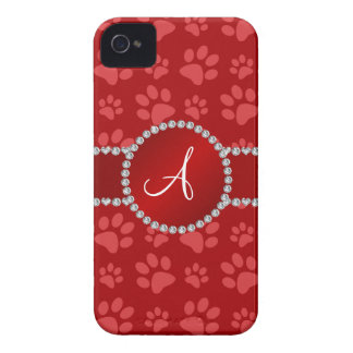 Monogram red dog paws red circle Case-Mate iPhone 4 case