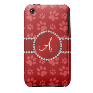 Monogram red dog paws red circle iPhone 3 cover