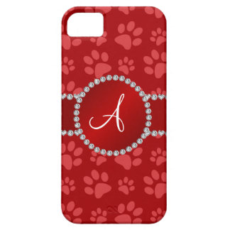 Monogram red dog paws red circle iPhone 5 cover