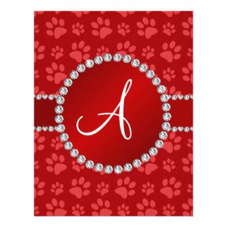 Monogram red dog paws red circle 21.5 cm x 28 cm flyer