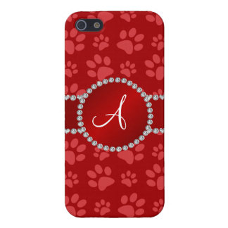 Monogram red dog paws red circle iPhone 5 case