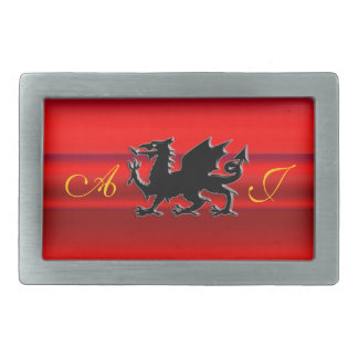 Monogram, Red Dragon on red metallic-effect Rectangular Belt Buckle