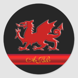 Monogram Red Dragon, red metallic-effect stripe Classic Round Sticker