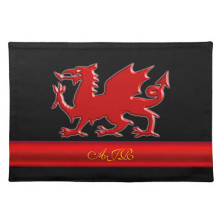 Monogram Red Dragon, red metallic-effect stripe Placemat