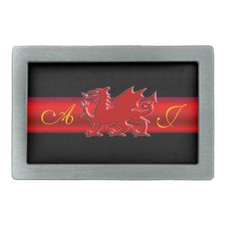 Monogram Red Dragon, red metallic-effect stripe Rectangular Belt Buckle