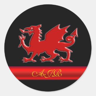 Monogram Red Dragon, red metallic-effect stripe Round Sticker