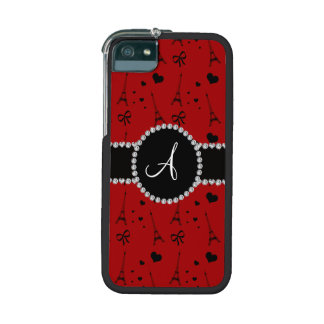 Monogram red eiffel tower pattern iPhone 5/5S cover