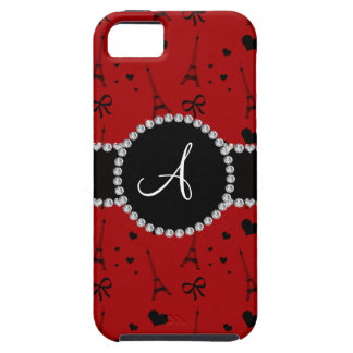 Monogram red eiffel tower pattern iPhone 5 cover