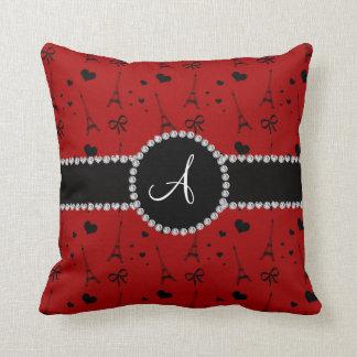 Monogram red eiffel tower pattern cushion
