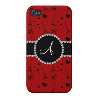 Monogram red eiffel tower pattern iPhone 4 cover