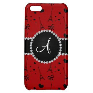 Monogram red eiffel tower pattern iPhone 5C cases