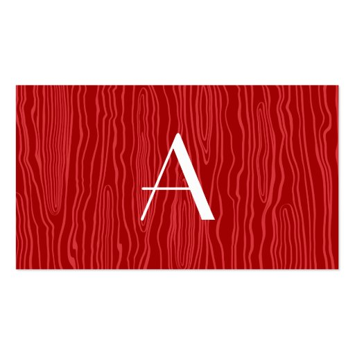 Monogram red faux bois business card template