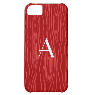 Monogram red faux bois cover for iPhone 5C