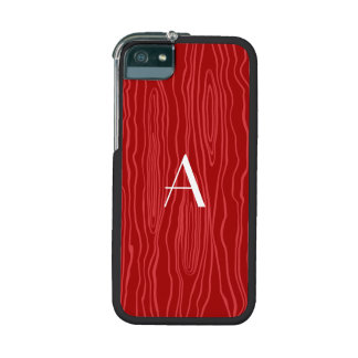 Monogram red faux bois iPhone 5 cases