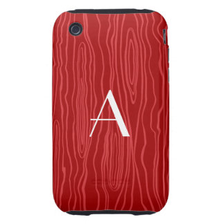 Monogram red faux bois iPhone 3 tough covers