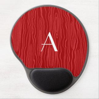 Monogram red faux bois gel mouse pad