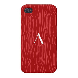 Monogram red faux bois iPhone 4/4S covers