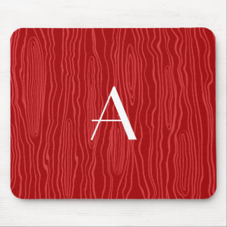 Monogram red faux bois mouse pads