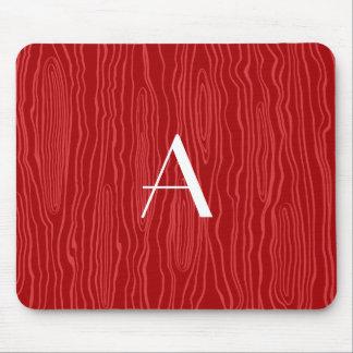 Monogram red faux bois mouse pad