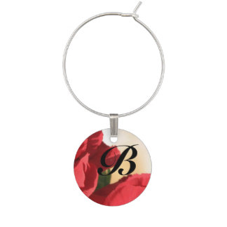 Monogram Red Floral Wine Charm
