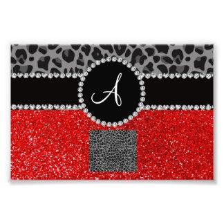Monogram red glitter black leopard photo