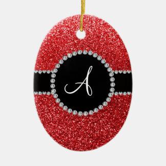 Monogram red glitter diamond black circle christmas ornament