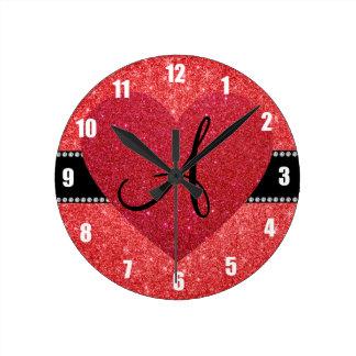 Monogram red glitter red heart wall clocks