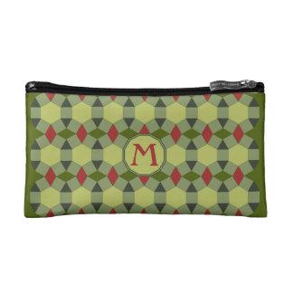 Monogram red green gray tiles makeup bag
