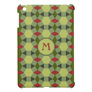Monogram red green grey tiles iPad mini covers