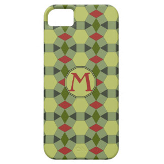 Monogram red green grey tiles iPhone 5 cover