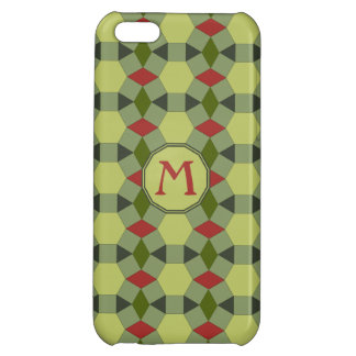 Monogram red green grey tiles pattern iPhone 5C covers