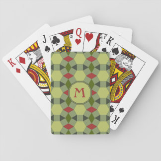 Monogram red green grey tiles playing cards