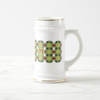 Monogram red green tiles pattern Personalized Beer Stein