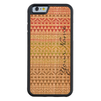 Monogram Red Green Watercolor Aztec Tribal Pattern Carved Cherry iPhone 6 Bumper Case