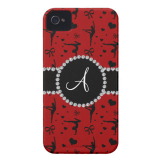 Monogram red gymnastics hearts bows iPhone 4 Case-Mate cases