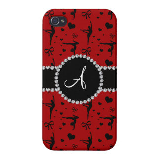 Monogram red gymnastics hearts bows iPhone 4 cover