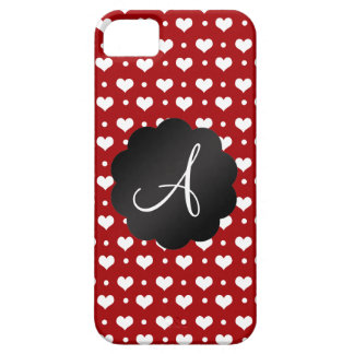 Monogram red hearts polka dots iPhone 5 covers