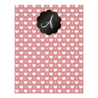 Monogram red hearts polka dots flyer