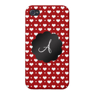 Monogram red hearts polka dots iPhone 4 cases