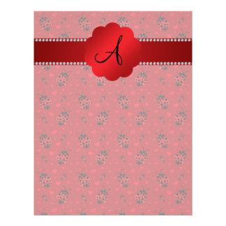 Monogram red ladybugs pattern 21.5 cm x 28 cm flyer