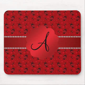 Monogram red ladybugs pattern mousepads