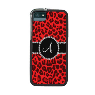 Monogram red leopard print circle iPhone 5 covers
