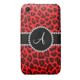 Monogram red leopard print circle iPhone 3 covers