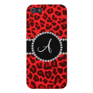 Monogram red leopard print circle iPhone 5 cover