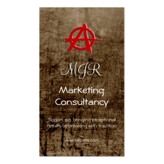 Monogram, Red Marketing Anarchy Sign, leather-look Business Card