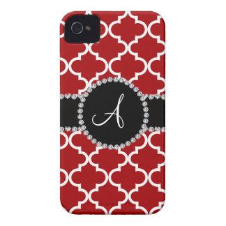 Monogram red moroccan quatrefoil iPhone 4 cases